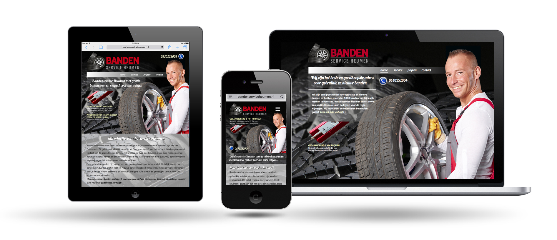 responsive website bandenservice by webdesign holland